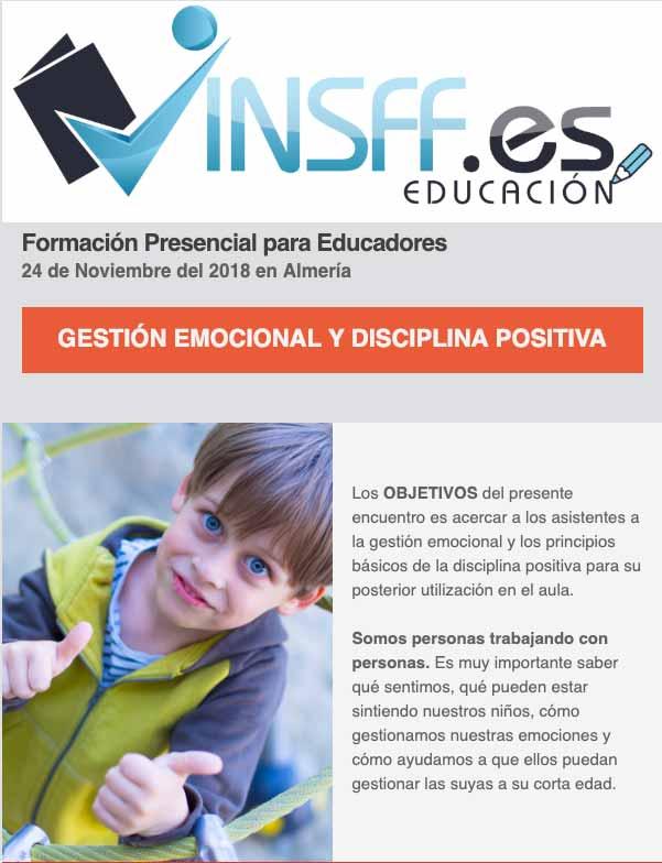 Formación Presencial para Educadores GESTIÓN EMOCIONAL Y DISCIPLINA POSITIVA